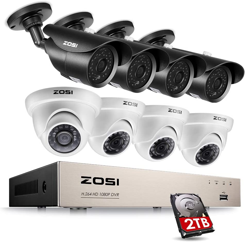 ZOSI 1080P 8CH Home Security Camera System, 8 Channel Surveillance DVR with 8 2.0MP Outdoor Indoor Cameras 2TB Security HDD, Remote Viewing, Motion Detection