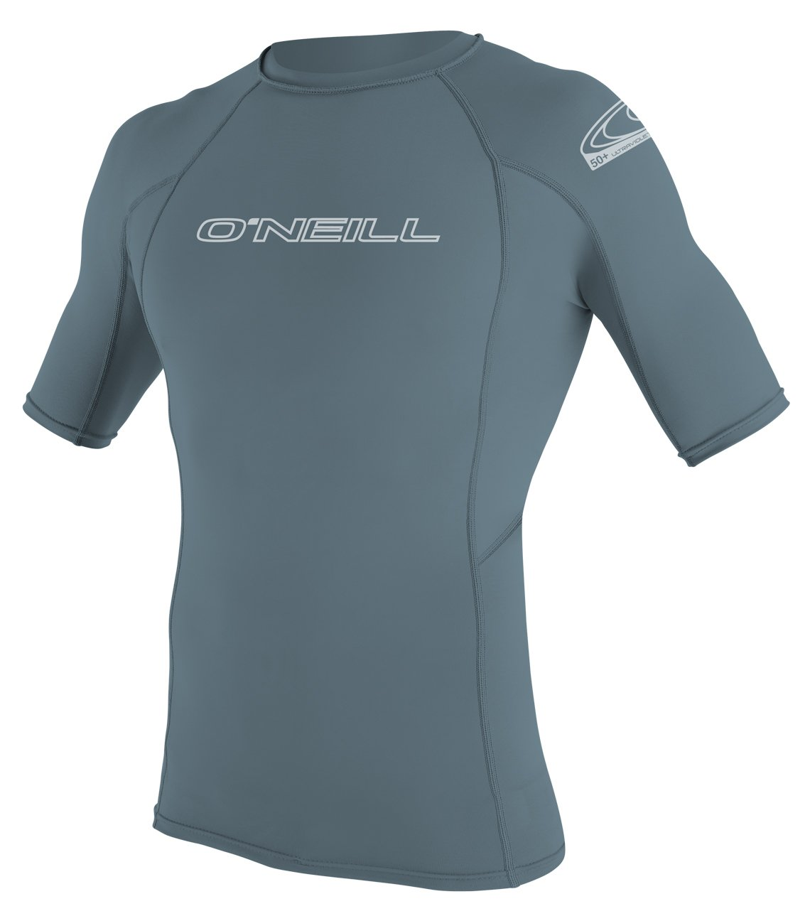 O'Neill Wetsuits Men's Basic Skins UPF 50+ Short Sleeve Rash Guard, Dusty Blue, Medium