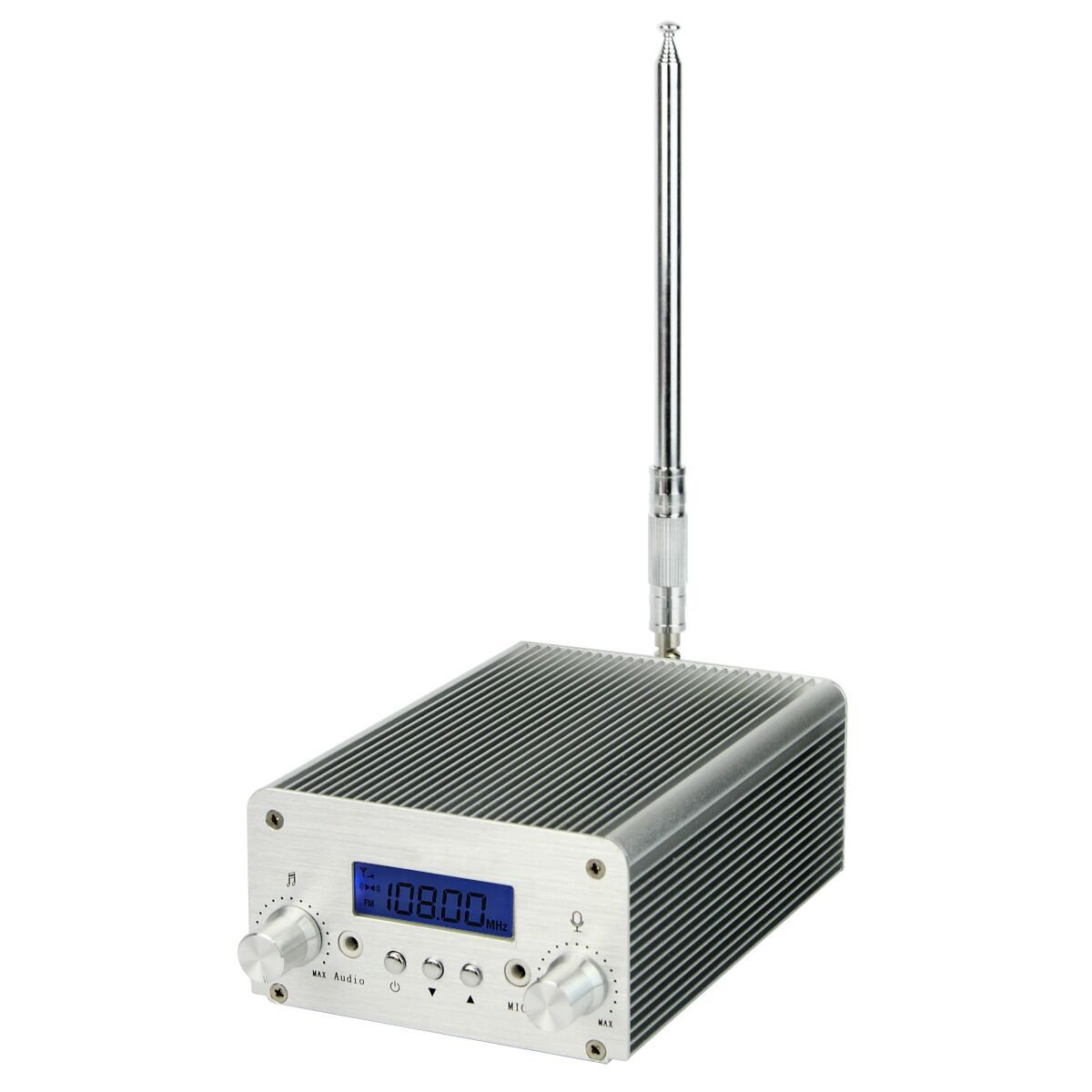 Retekess T6-A 1W 6W FM Transmitter Long Range Mini Radio Stereo Broadcast Station PLL LCD Display AUX in Line with Antenna Factory Church (Silver)