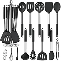 Silicone Kitchen Cooking Utensil Set, EAGMAK 14PCS Stainless Steel Silicone Kitchen Utensils Spatula Set with Stand for…