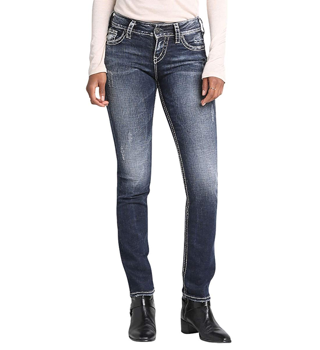 Silver Jeans Womens Suki Mid-Rise Straight Leg Jeans Jeans