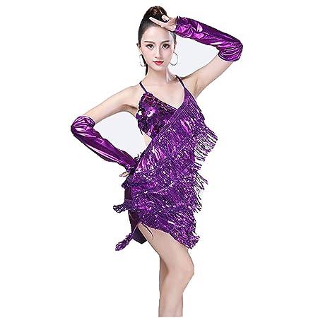 5e4177de0 Women Adult Shiny Dance Party Dress, Women Dancewear Backless Sequin Tassels  Ballroom Samba Tango Latin