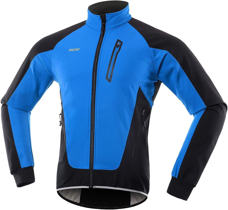 ARSUXEO Men's Winter Cycling Jacket Thermal Fleece Softshell MTB Bike Outwear Windproof Waterproof 20B