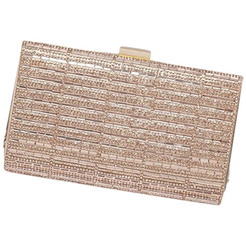 Pave Multi Frame - Baguette and Pave Crystal Frame Clutch Style HBRYAN, Rose Gold