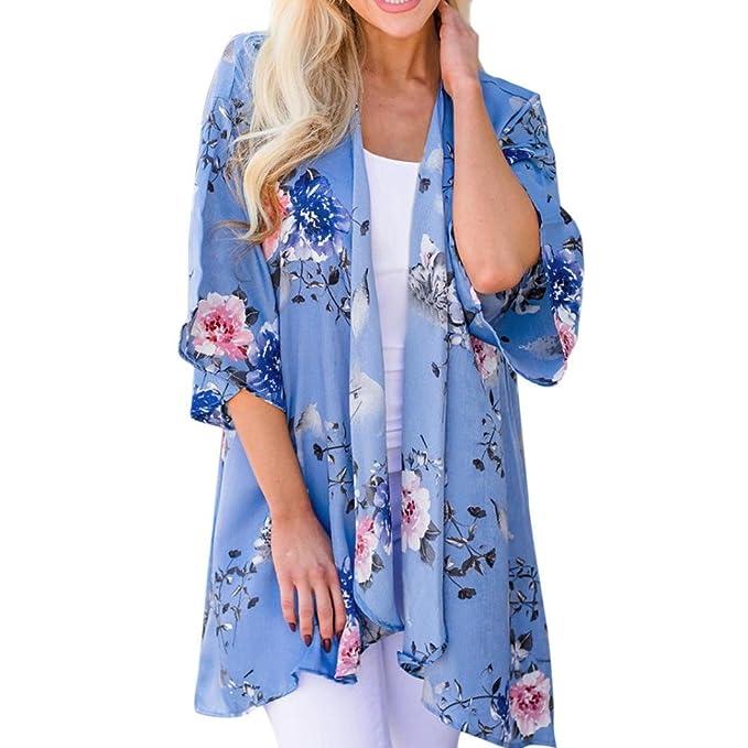 Cinnamou-mujer Verano Floral Gasa Kimono Cardigans Blusa Cubierta Ups Chaquetas de Mujer Casual