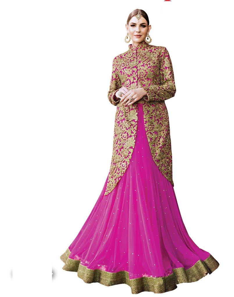 DesiButik's Wedding Wear Ravishing Pink Net Lehenga