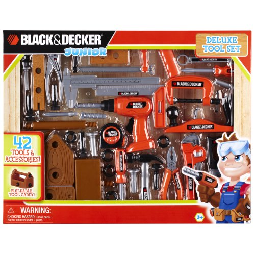 Black and Decker 90320 Junior Deluxe 42-Piece Toy Tool Set with Toolbox