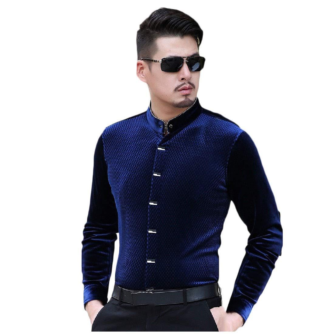 Zimaes-Men Winter Thick Long Sleeve Stylish Stand Collar Velvet Shirt