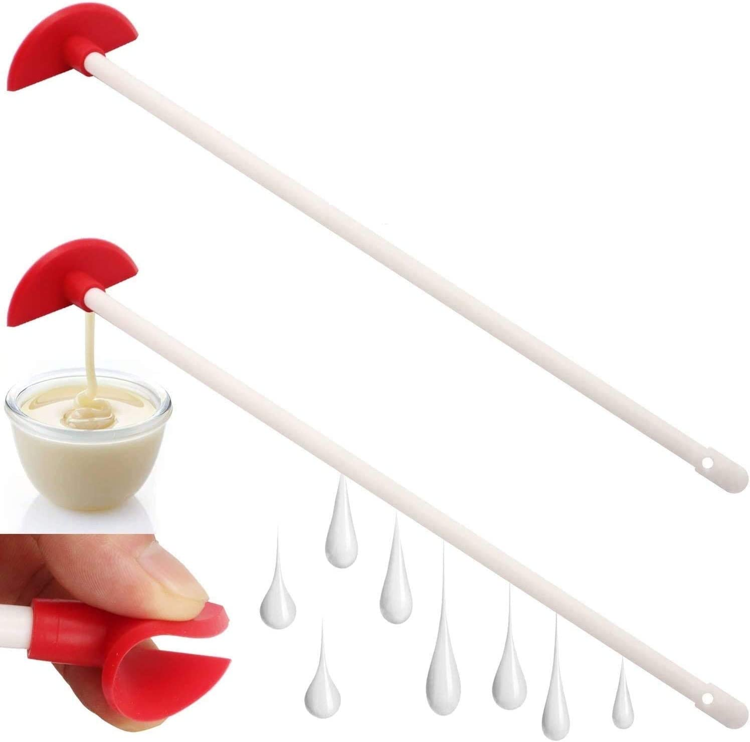 2 pcs Last Drop Silicone Mini Spatula /& Jar Scraper Scoop Long Handles Tools