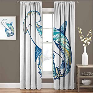 GUUVOR Abstract for Bedroom Blackout Curtains Hammer Head Shark Ornate Underwater Sea Ocean Life Animals Marine Blackout Curtains for The Living roomW63 x L84 Inch Blue Aqua White