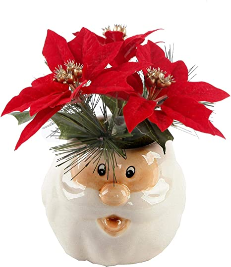 Flora Bunda Artificial Plant Holiday Christimas Poinsettias In Ceramic Santa Pot Home Kitchen