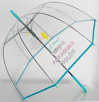 """Paraguas Transparente de Mujer. Paraguas Automático de Mujer con la frase """"Al mal"""