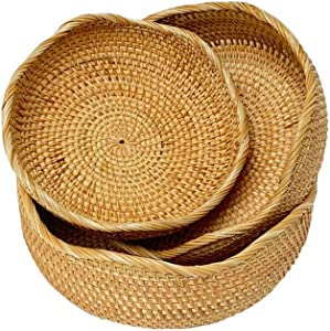 ALA7 Wicker Basket Bowls Handmade Rattan Baskets For Storage Display Gifts, Lacy Bread Baskets For Serving, Fruit Holder Food Tray(Set of 3-Size)