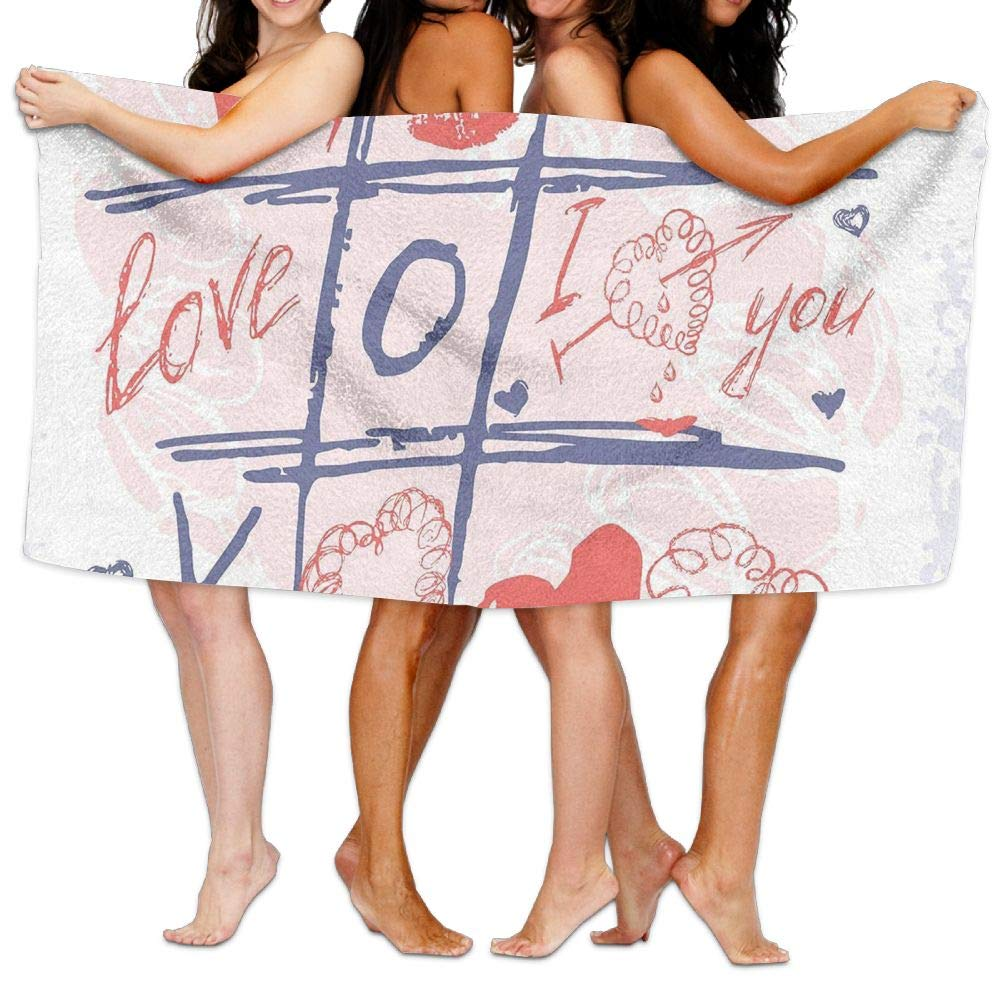 Haixia Quick Drying Bath Towels Valentines Day Decor XOXO Game with Lips Sketchy Circles Hearts Romantic Love Theme Full Blue Red and White