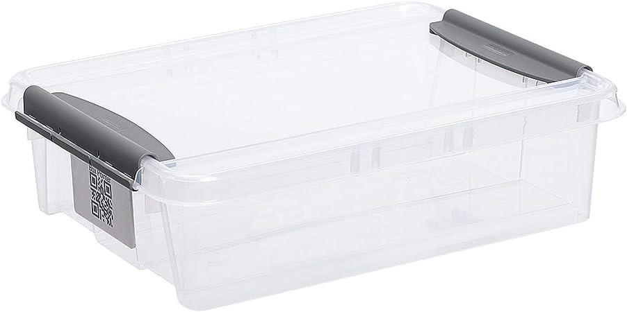Plast team Pro Box - Caja de almacenaje con Tapa y código QR (apilable), Transparente, 8 L: Amazon.es: Hogar