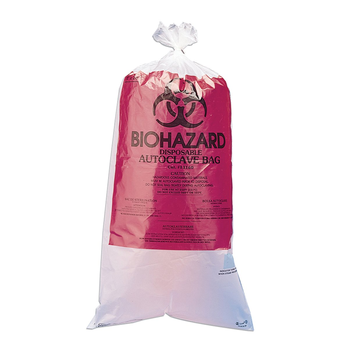 BioHazard Disposal Bags with Warning Label and Sterilization Indicator, Polypropylene, 15-20 Gallon, 24 x 36 Inch Bag, 1.5mil Thick, 100 per Package