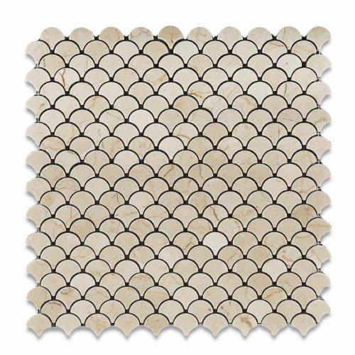 Oracle Crema Marfil Marble Fan Mosaic Tile, Polished - Bo...