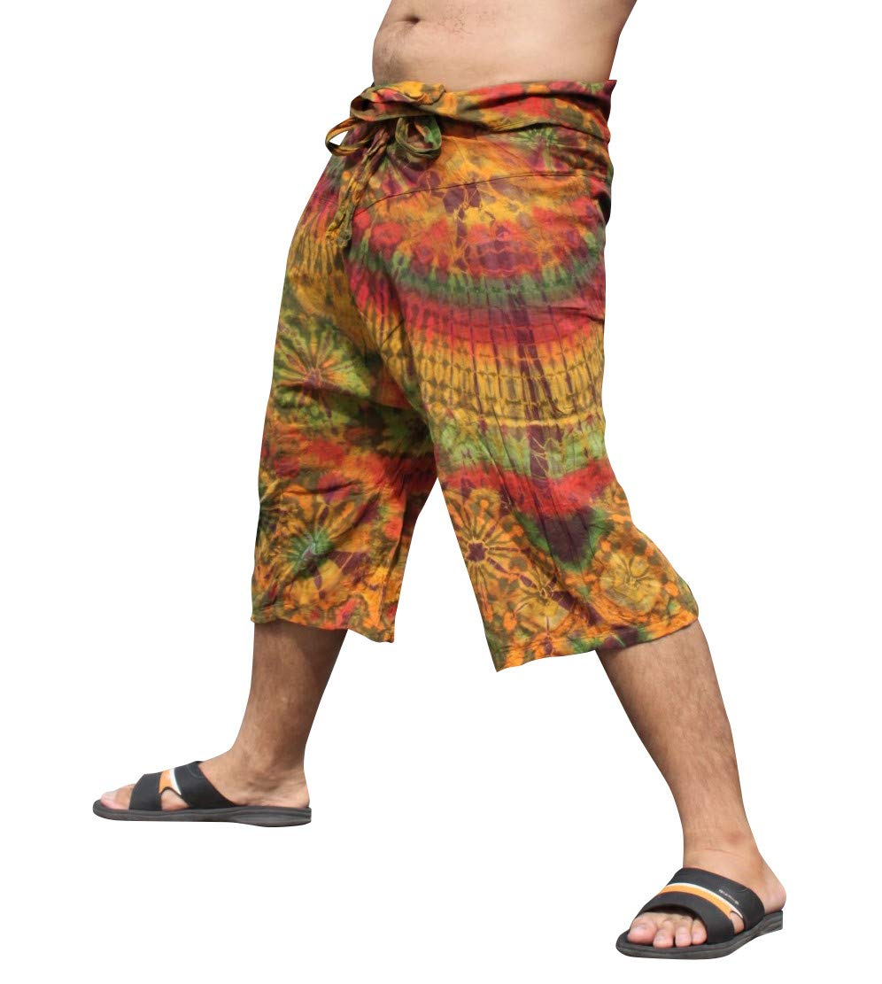 Full Funk Cotton Tie Dyed Natural Colorful Thai Fisherman Wrap 3/4 Leg Pants, Small, Peru Brown by Full Funk