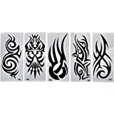 One Point Collections Enamel Assorted Design Temporary Tattoo Sticker (Black, 10.5x6cm) - Set of 4
