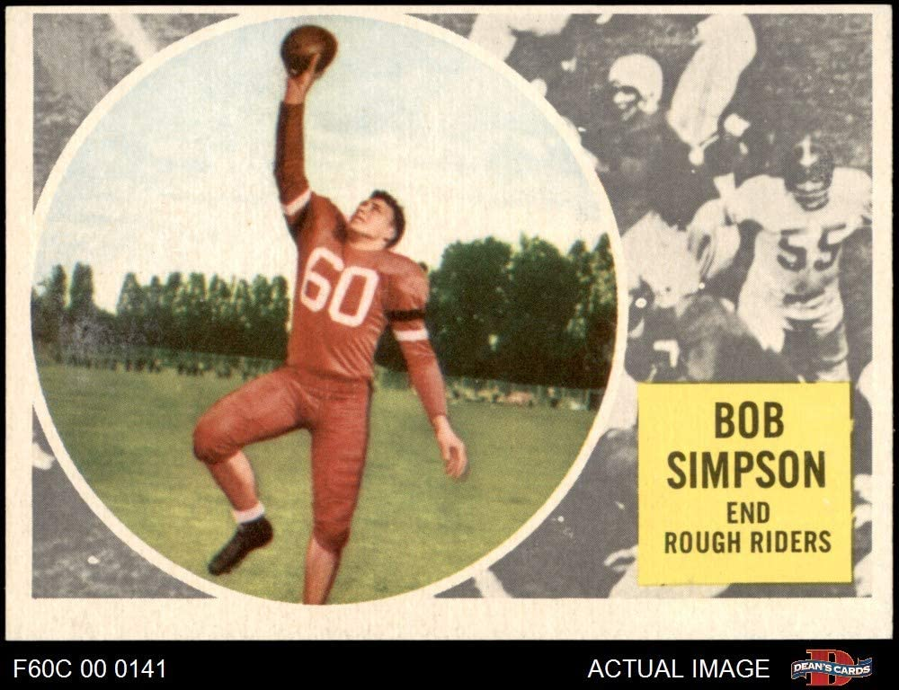 1960 Topps # 65 Bob Simpson (Football Card) Dean'S Cards 5 - Ex Windsor