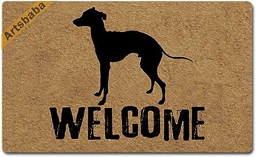 Artsbaba Welcome Dog Doormat Italian Greyhound Door Mat Rubber Non-Slip Entrance Rug Floor Mat Balcony Mat Funny Home Decor Indoor Mat 30 x 18 Inches, 0.18 Inch Thickness