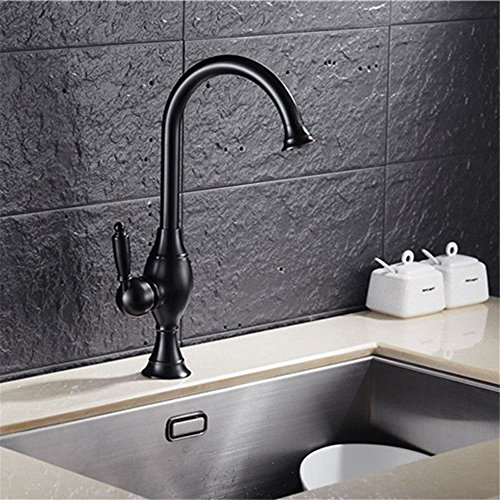 AQiMM BathroomSinkFaucet Waterfall Chrome Tap For Brass Stoving Lacquer Black Oil Rubbed Bronze Antique Hot And Cold Water Valve Swivel 1 Hole Single Lever Sink Basin Mixer Taps DeckMounted - Rubbed Black Lacquer
