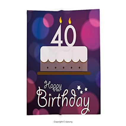 Vipsung Throw Blanket With 40th Birthday Decorations Big Color Dots And Graphic Cake Candles Hand Writing