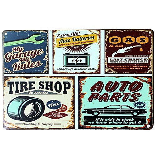 soulfeel retro metal garage signs plaque poster wall decor for home bar pub and tavern shop multi paints - Garage Decor