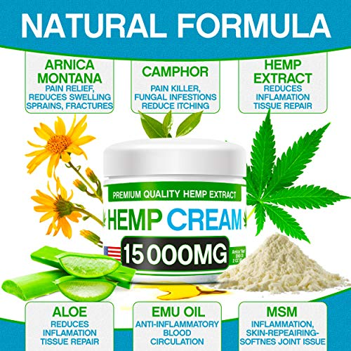 61Y5%2BnL5JUL - Hemp Pain Relief Cream - 15 000 MG - Natural Hemp Extract Relieves Inflammation, Knee, Muscle, Joint & Back Pain - Contains Arnica, MSM & EMU Oil - Non-GMO - Made in USA
