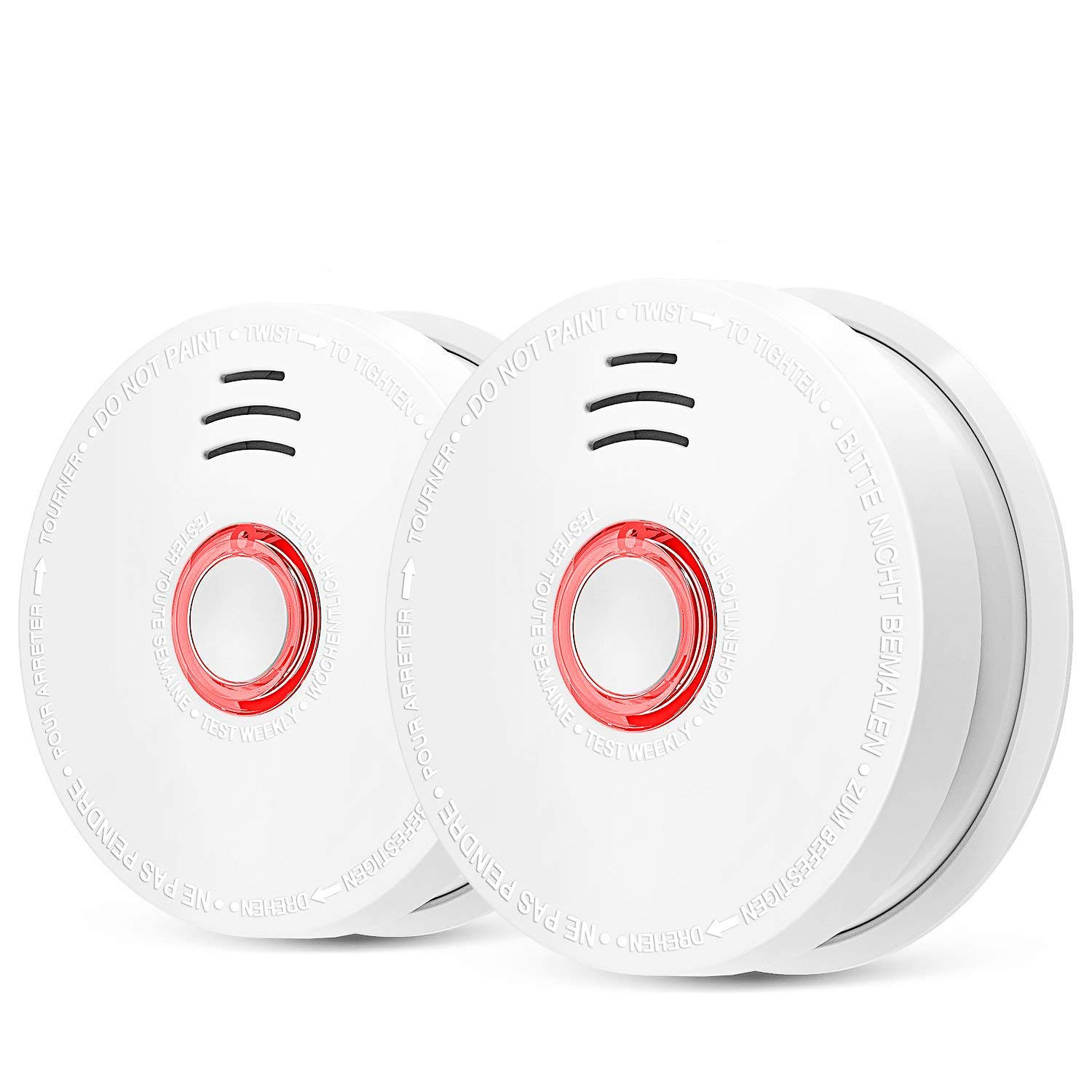 2 Pack Photoelectric Smoke Detector & Alarm, Battery-Operated(Not Hardwired) Smoke and Fire Alarm/Detector with Test Button, Photoelectric Fire Dector/Alarm with UL Listed(9V Battery Included)