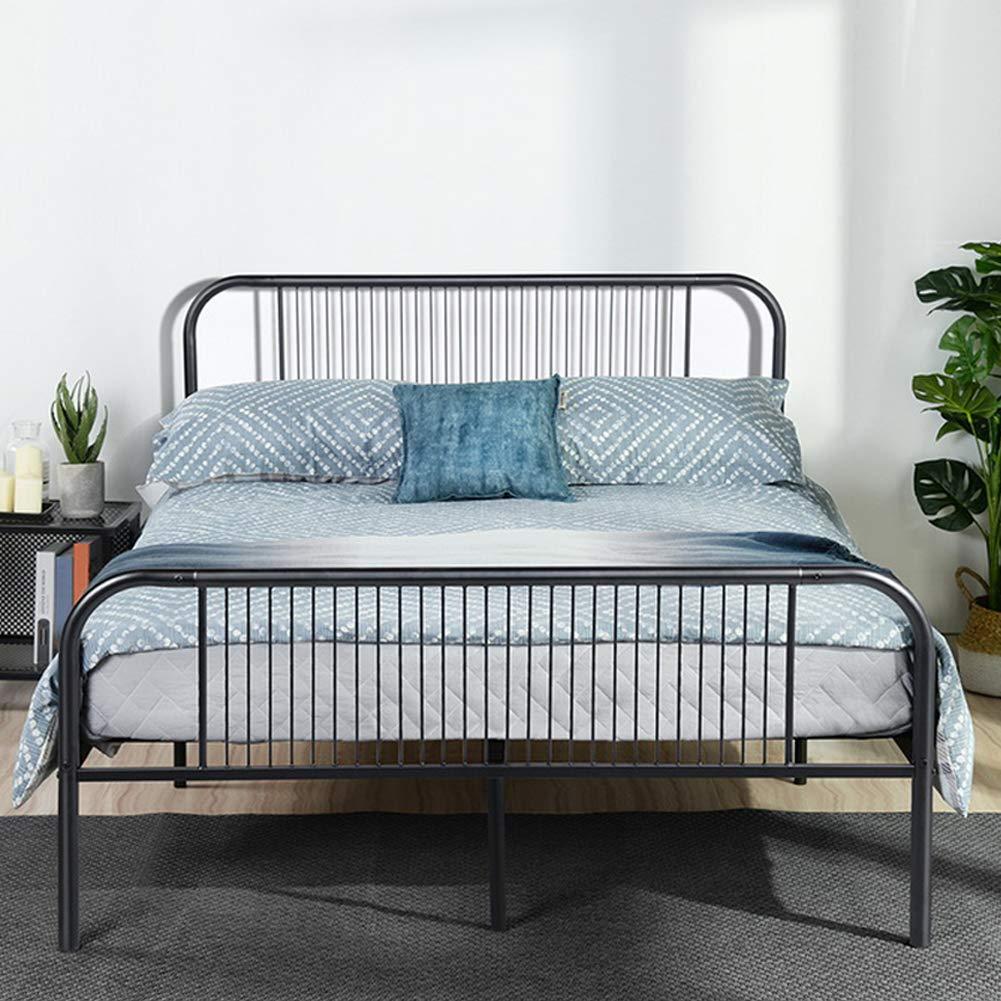 Aingoo Doppelbett bettrahmen bett mit lattenrost Metallbett für Erwachsene Kinder Kinder Für 140  190 cm Matratze Schwarz