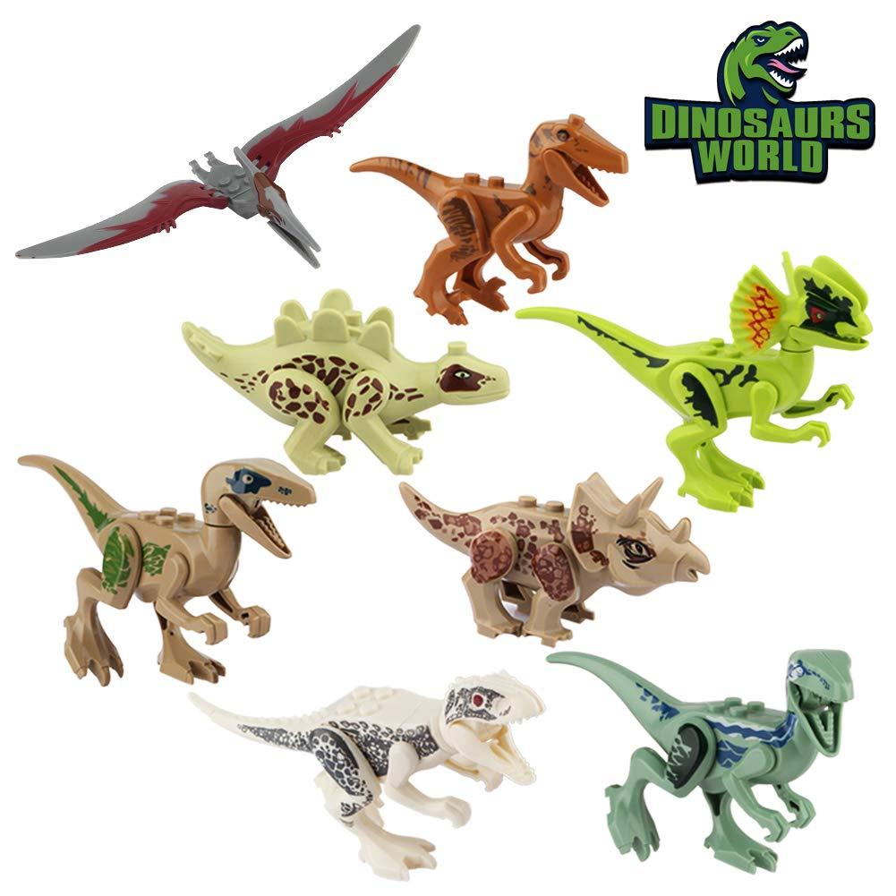 Baztoy Kinder Dinosaurier Figuren Spielzeug, 8PCS Dino Bausteine Spiele Sets Kunststoff Klein, Dinosaurier World Tiere Spielzeug Perfekt für Kindergeburtstag Party Dekoration, Jungen Mädchen Kinder Jungen Mädchen Kinder