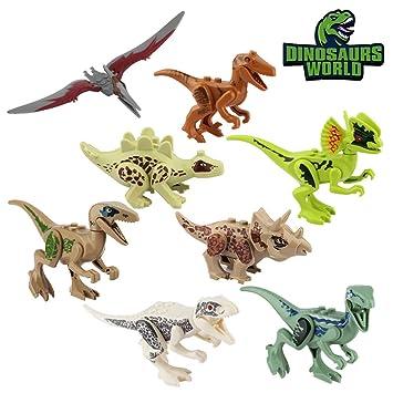 8pcs Dinos fit Dinosaurier Tyrannosaurus Raptor Spielzeug für Kinder geschenke B