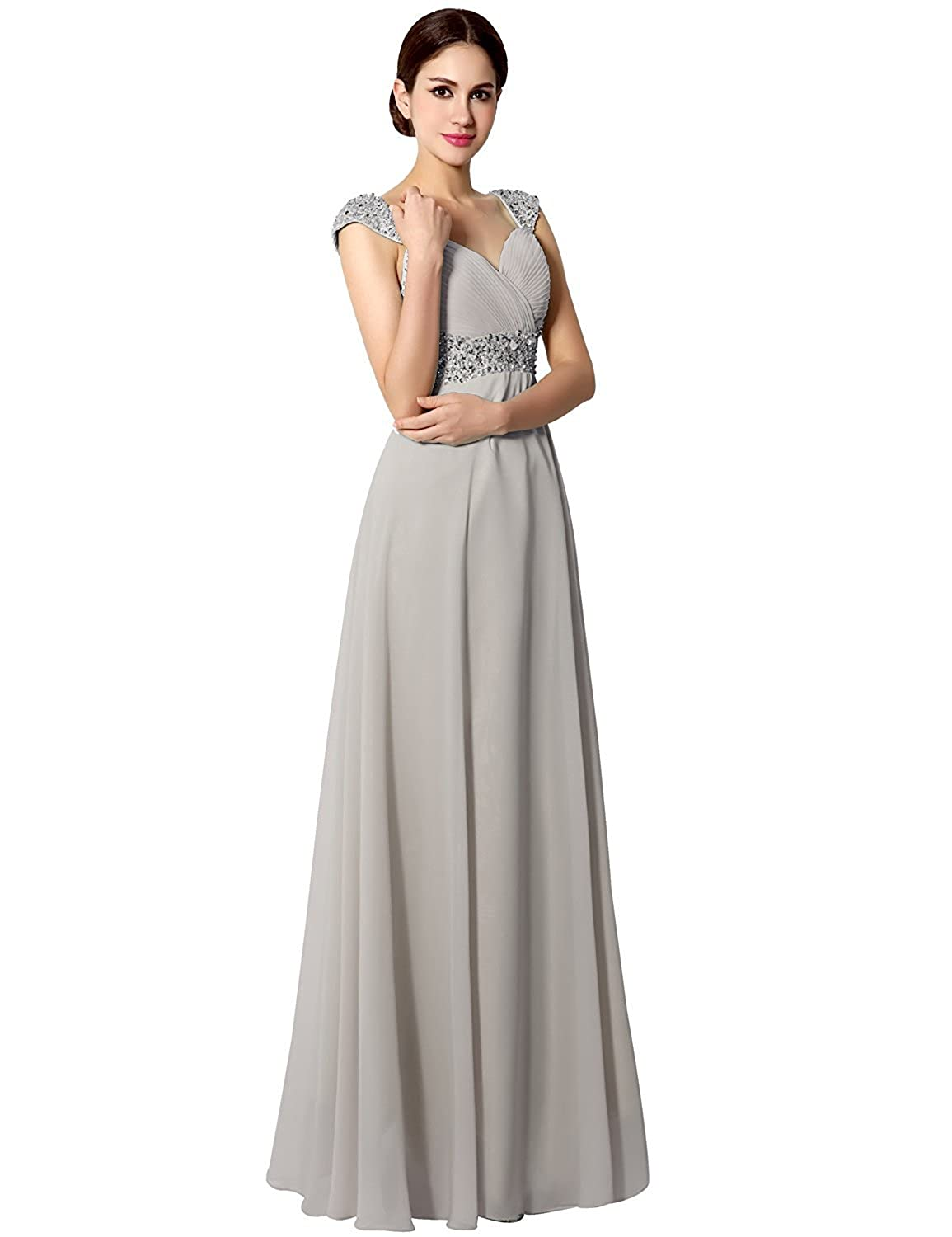 60a615389fb Amazon.com  Sarahbridal Women s Beaded Prom Dress Long 2019 Chiffon  Bridesmaid Gowns for Wedding  Clothing