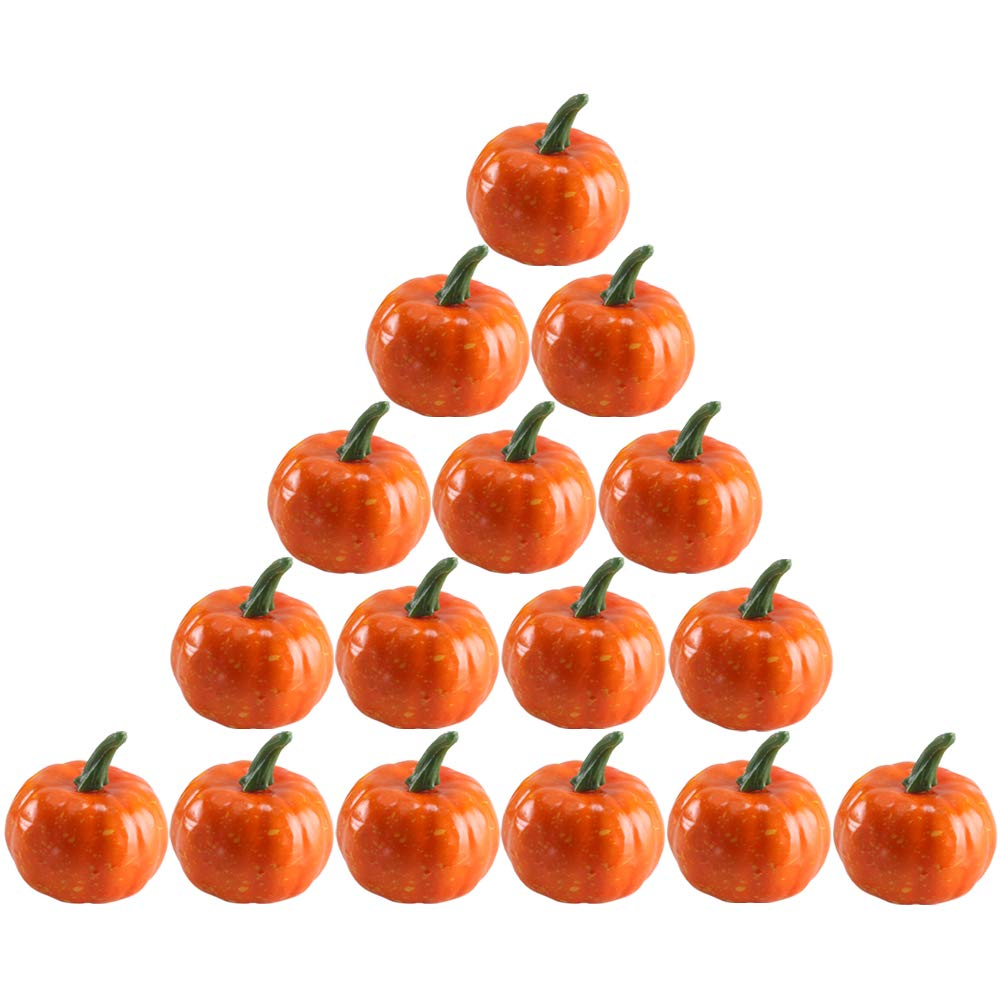 Nahuaa 16PCS Fall Decor Artificial Fruit DIY Craft Fake Foam Pumpkins Home Kitchen Vase Filler Thanksgiving Table Scape Halloween Decorations Accessory