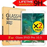 iPad Pro 10.5''Screen Protector,AnoKe[Apple Pencil Compatible]Tempered Glass Screen Protector Bubble Free,Anti-Scratch Film Shield 2.5D Rounded Edge Case Friendly For Apple iPad (10.5 inch) - 2 Pack