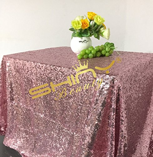 ShinyBeauty 60x120-Inch Rectangular Sequin Tablecloth-RosePink - Pink Rose Table