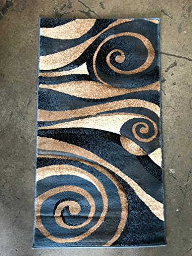 Amazon Com Sculpture Modern Door Mat Area Rug Blue Design