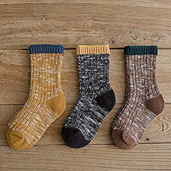 Baby Boys Girls Socks 3 Pairs Toddler Thick Warm Seamless Chunky Knit Cotton Socks Kid Cotton Crew Socks