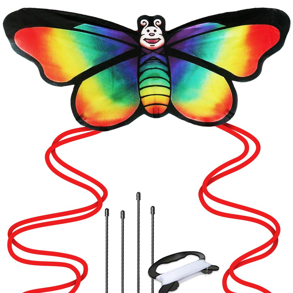 Rainbow Butterfly Kite for Girls - Beach and Outdoor Fun Premier Kite, Easy to Assemble and Fly, Great for Beginners and Pro