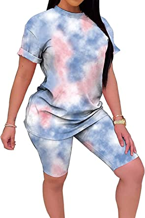 Womens Casual 2 Piece Outfits Solid Short Sleeve T-Shirts Top Bodycon Shorts Set Sports Yoga Suit Tracksuit Jumpsuits