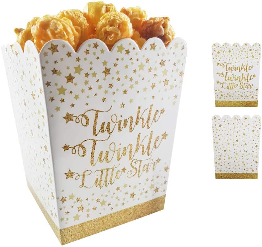 Favor Boxes For Baby Showers And Kids Birthday Parties. Perfectly Sized Portions For All Kinds Of Party Favors & Goodie Bags, Food Grade & Easy to Assemble, 25 per set. Twinkle Theme