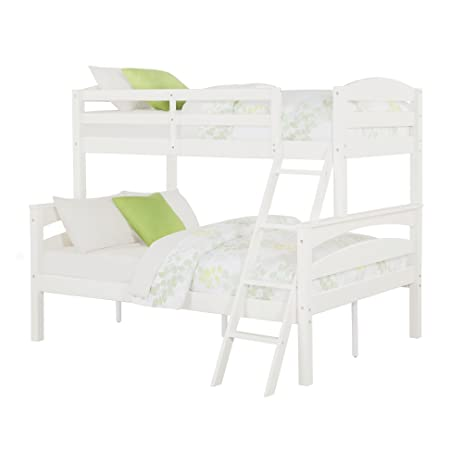 dorel living brady twin over full solid wood kidu0027s bunk bed with ladder white