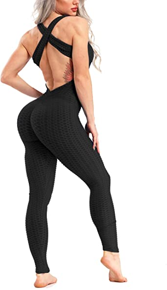 CROSS1946 Womens One Piece Texture Yoga Sport Gym Fitness Butt Lift Yoga Jumpsuit Sleeveless Backless Bandage Romper Playsuit