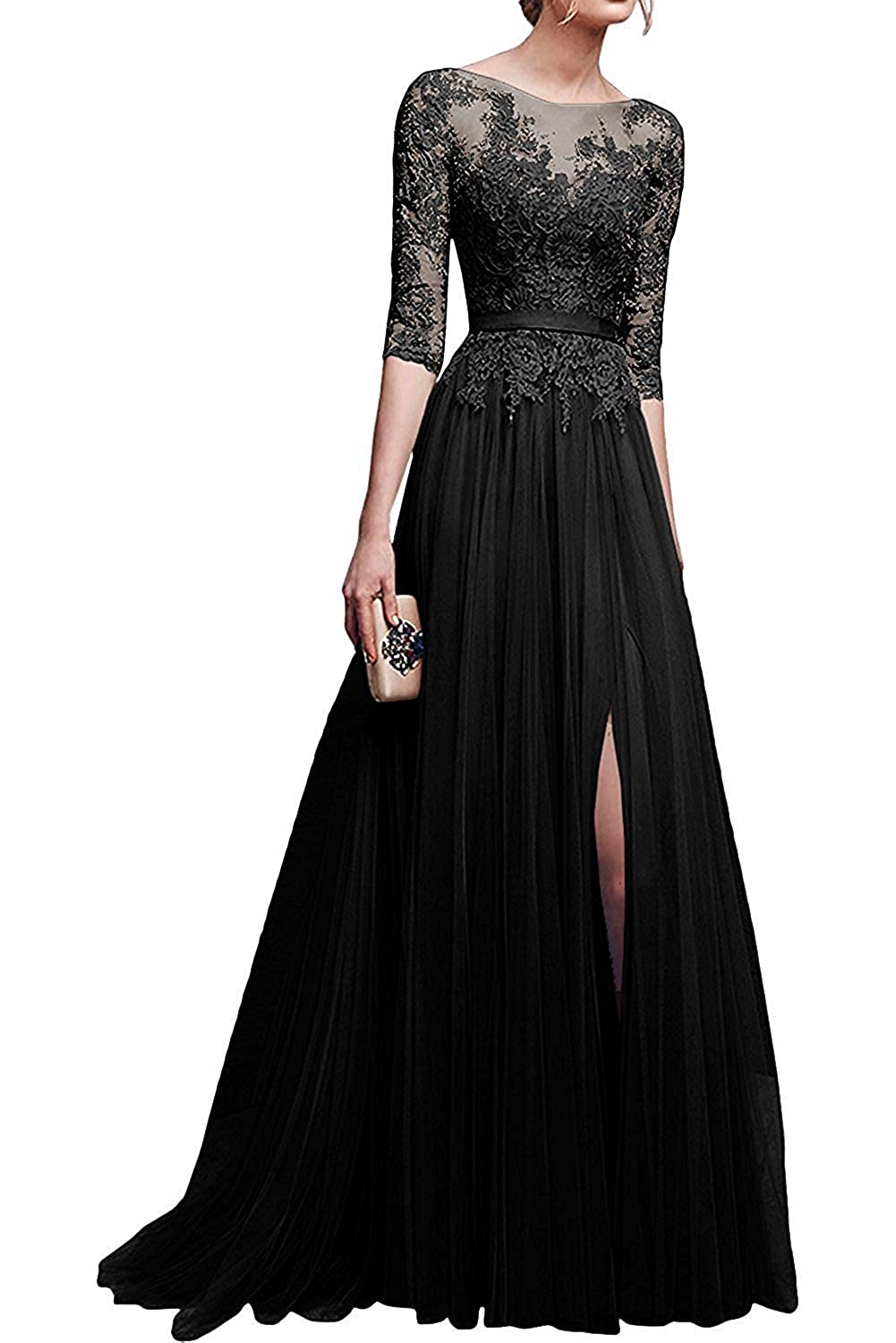 a325a97b3db Amazon.com  MisShow Applique Tulle 3 4 Sleeves Long Prom Dresses 2019 for  Women  Clothing