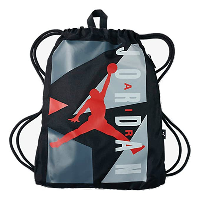 new style 4a6ad a8338 Nike Air Jordan Jumpman Drawstring Backpack Bag Black Gray with Red Jumpman  Logo  Amazon.ca  Clothing   Accessories