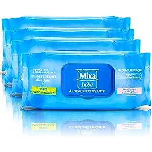 Mixa Bébé Lingettes A L'eau Nettoyante 72 unités - Lot de 4