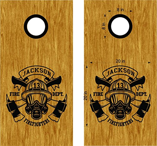 Fireman Cornhole Decals Fire Fighter Department Cornhole Board Decals Stickers - Bean Bag Toss - Vinyl Stickers - Comes With Rings - Bean Baggo Decal 3