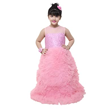 Samsara Couture Baby Girls Pink Birthday Party Wear Fluffy Gown For Kids