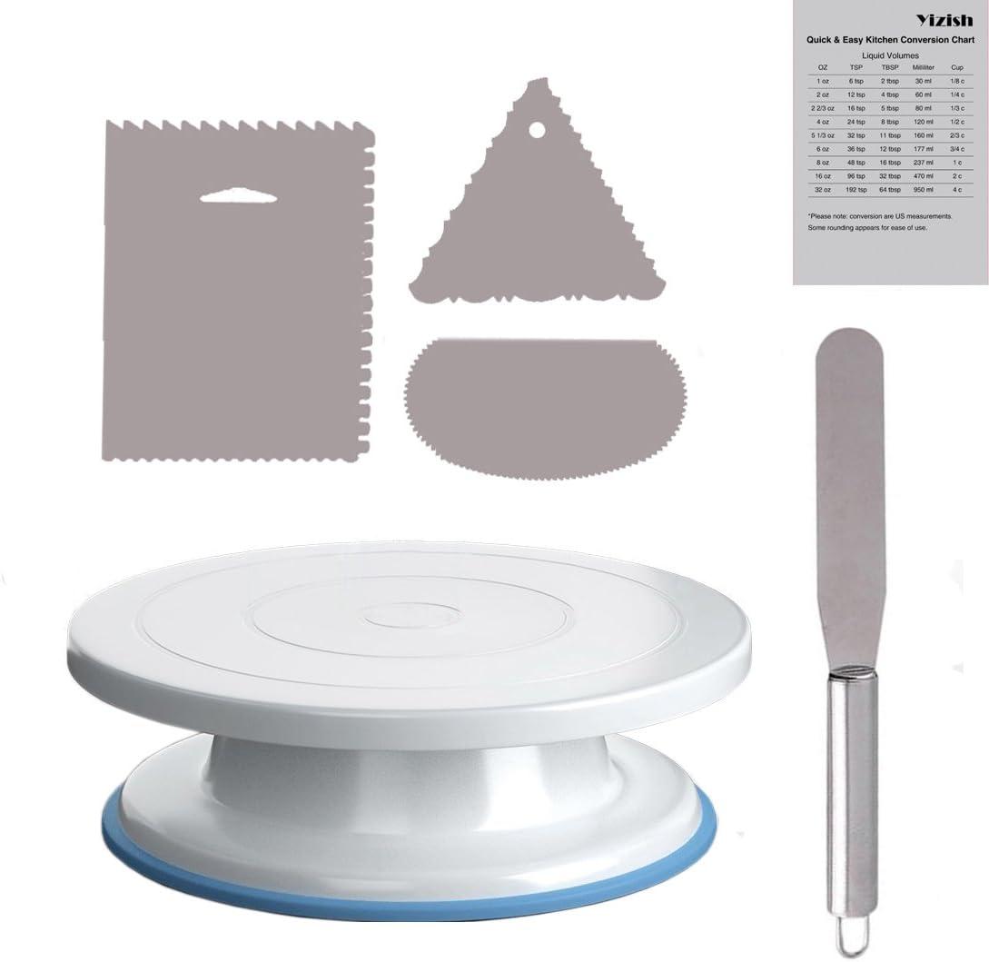 Yizish 2 Tocadiscos giratorios de 11 pulgadas con espátula de acero inoxidable y glaseado más suave (3 unidades) para hornear, decoración de tartas, pasteles y magdalenas, plástico